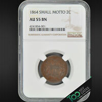 1864  2 SMALL MOTTO TWO CENT  NGC AU55 CHOICE ALMOST UNCIRCULATED  4241854