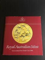1984 AUSTRALIAN ONE DOLLAR $1 UNCIRCULATED IN ORIGINAL COIN CARD // FIRST ISSUE