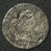 1801 DRAPED BUST SILVER HALF DIME - DAMAGE