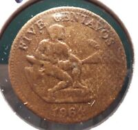 CIRCULATED 1964 5 CENTAVOS PHILIPPINO COIN    51615