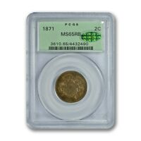 1871 2C TWO CENT PIECE PCGS MINT STATE 65RB CAC PQ
