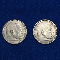 LOT OF 1939 A &1939 B GERMANY 2 SILVER REICHSMARK SWASTIKA THIRD REICH  2 COINS