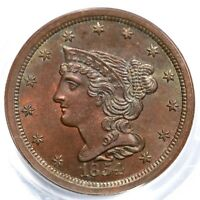 1854 C-1 R-1 PCGS MINT STATE 64 RB BRAIDED HAIR HALF CENT COIN 1/2C