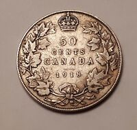 1918 CANADA 50 CENTS COIN  92.5  SILVER    KING GEORGE V