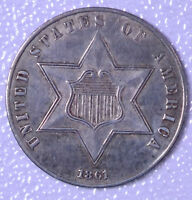 1861 3C SILVER THREE-CENT PIECE - AU