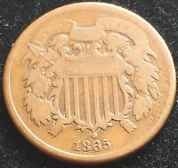 CIRCULATED 1865 TWO CENT PIECE. GREAT TYPE COIN. EARLY ISSUE 2