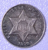 1870 3C SILVER THREE-CENT PIECE - CH AU RIM FILE