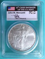 2004 MERCANTI SIGNED MINT STATE SILVER EAGLE PCGS MS70