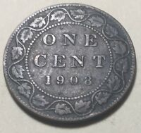 CANADA 1908 LARGE ONE CENT COIN   KING EDWARD VII