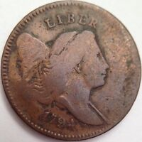 1794 LIBERTY CAP HALF CENT - LOW RELIEF HEAD -   EARLY U.S. COIN