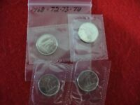 LOT OF 4  1968 72 73 1974   CANADA   DIME   10  CENT PIECE   SEALED  AUCTION