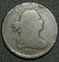 1805 DRAPED BUST COPPER HALF CENT