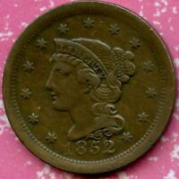 1852 EXTRA FINE  1C BRAIDED HAIR LARGE CENT