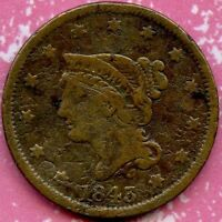 1843 PH/SD F 1C COPPER BRAIDED HAIR LARGE CENT