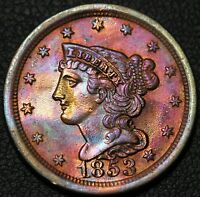 1853 BRAIDED HAIR COPPER HALF CENT - TONING - CLEANED
