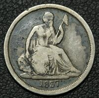 1837 NO STARS SEATED LIBERTY SILVER DIME