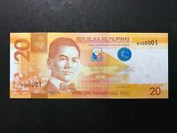 PHILIPPINES 20 PESOS NGC 2014A FIRST SERIAL W000001 - SINGLE PREFIX