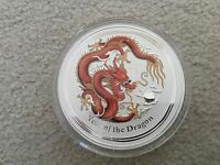 AUSTRALIA 2012 1 KILO COLORIZED LUNAR YEAR OF THE DRAGON SILVER COIN IN CAPSULE