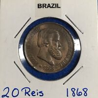 1868 BRAZIL 20 REIS   GEM BU RED/BROWN EXAMPLE
