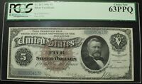Click now to see the BUY IT NOW Price! 1886 $5 FIVE DOLLAR SILVER DOLLAR BACK SILVER CERTIFICATE NOTE PCGS CU 63 PPQ