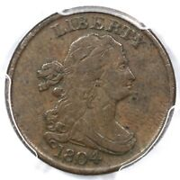 1804 C-7 R-4 PCGS F 15 CAC SPIKED CHIN DRAPED BUST HALF CENT COIN 1/2C