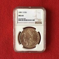 1881 S MINT STATE 64 MORGAN DOLLAR  GRADED BY NGC  0.900 SILVER