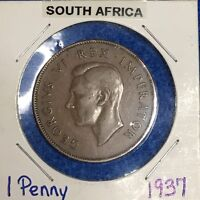 1937 SOUTH AFRICA  1 ONE PENNY  GEORGE VI    KM25    NICE ALL ORIGINAL COIN