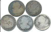 5 OLD SILVER TWO 2 REALE COINS FROM BOLIVIA 1773 1791