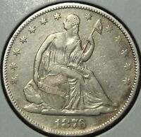 1876 SEATED LIBERTY SILVER HALF DOLLAR   CLEANED