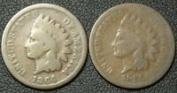 LOT OF 2 INDIAN HEAD CENTS   1864 BRONZE   1865 W/ REVERSE DAMAGE