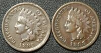 LOT OF 2 INDIAN HEAD CENTS   1883 X 2   DECENT COINS W/ PARTIAL 'LIBERTY'