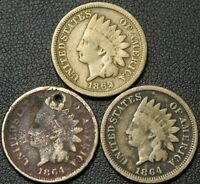 LOT OF 3 COPPER NICKEL INDIAN HEAD CENTS   1862   1864 X 2   ONE IS HOLED