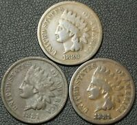 LOT OF 3 INDIAN HEAD CENTS   1880   1881 X 2   ONE IS BADLY BENT