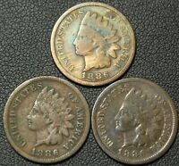 LOT OF 3 INDIAN HEAD CENTS   1886 TYPE 1 X 2   1886 TYPE 2