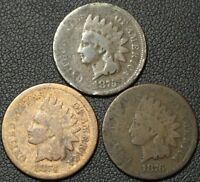 LOT OF 3 1870'S INDIAN HEAD CENTS   1874   1875  1876