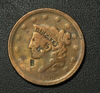 1838 CORONET HEAD COPPER LARGE CENT   'KW' COUNTERSTAMP