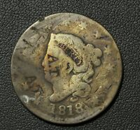 1818 CORONET HEAD COPPER LARGE CENT   MULTIPLE 'A.T' COUNTERSTAMPS