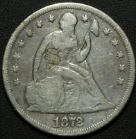 1872 SEATED LIBERTY SILVER DOLLAR   LOVE TOKEN   FANCY 'S' ON OBVERSE