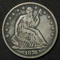 1876 SEATED LIBERTY SILVER HALF DOLLAR   MISPLACED DATE IN DENTICLES?