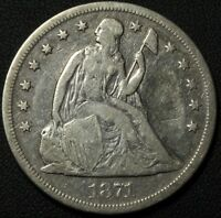 1871 SEATED LIBERTY SILVER DOLLAR   REPAIRED