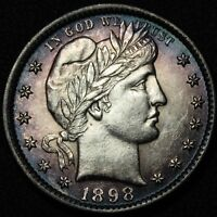 1898 BARBER SILVER QUARTER   ABSOLUTELY GORGEOUS    AMAZING