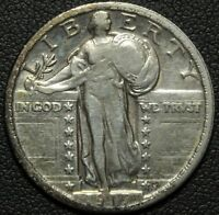 1917 TYPE 2 STANDING LIBERTY SILVER QUARTER   CLEANED