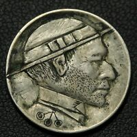 1913 TYPE 1 ORIGINAL HOBO BUFFALO NICKEL   VERIFIED BY OHNS   AWESOME CARVING
