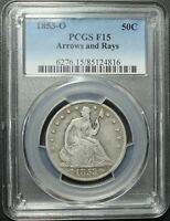 1853 O ARROWS AND RAYS SEATED LIBERTY SILVER HALF DOLLAR PCGS F 15