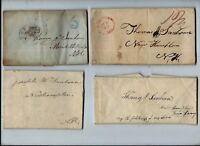 A LOT OF 24 EARLY STAMPLESS LETTERS  SANBORN FAMILY RELATED MA  NH VT ME
