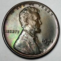 1941 D DDO-001 UNCIRCULATED LINCOLN WHEAT CENT TONED FROM OBW 456