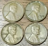 1934D 1936S 1938S 1939D LINCOLN WHEAT CENT PENNY  GOOD TO AU