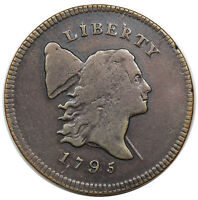 1795 LIBERTY CAP HALF CENT, PLAIN EDGE, PUNCTUATED DATE, C-4, R.3, VF