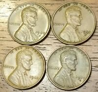 1940D 1941S 1942 1942D LINCOLN WHEAT CENT PENNY  FINE TO AU