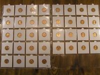 LINCOLN CENT LOT  36 BU UNCIRCULATED & PROOF COINS  1944 - 2000 MIX  MOUNTED